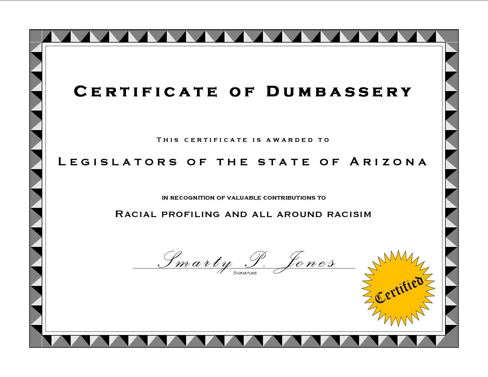 Dumbass award certificate